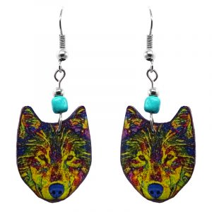 Art pattern wolf face acrylic dangle earrings with beaded metal hooks in yellow and rainbow multicolored color combination.