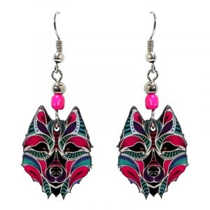 Tribal pattern wolf face acrylic dangle earrings with beaded metal hooks in hot pink, purple, turquoise, black, and white color combination.