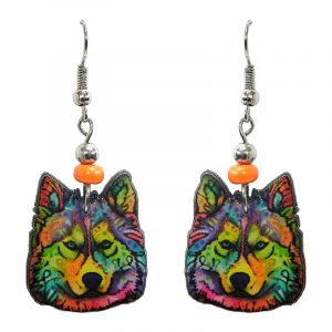Art pattern wolf face acrylic dangle earrings with beaded metal hooks in rainbow multicolored color combination.
