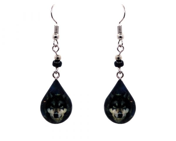 Teardrop-shaped grey wolf face graphic acrylic dangle earrings with silver metal setting and beaded metal hooks in black and gray color combination.