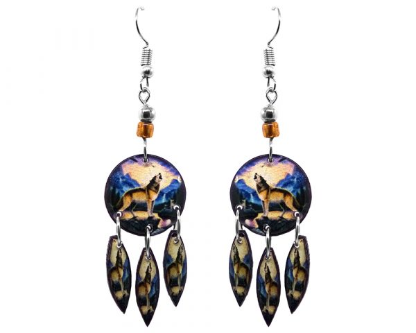 Round-shaped howling wolf acrylic graphic earrings with long matching dangles and beaded metal hooks in blue, brown, and beige color combination.