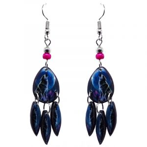 Teardrop-shaped howling wolf graphic acrylic earrings with long matching dangles and beaded metal hooks in blue, black, and gray color combination.