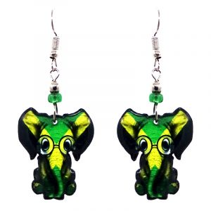 Nerd elephant acrylic dangle earrings with beaded metal hooks in Jamaican flag colors.
