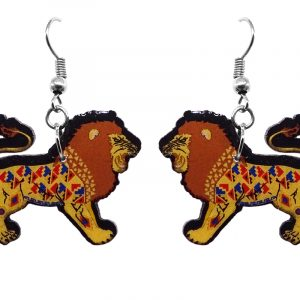 Tribal pattern lion acrylic dangle earrings with beaded metal hooks in golden, brown, tan, red, and blue color combination.