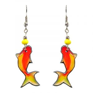 Koi fish acrylic dangle earrings with beaded metal hooks in orange and yellow color combination.