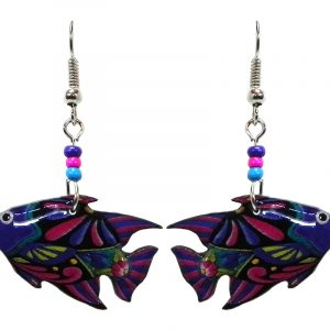 Geometric floral pattern fish acrylic dangle earrings with beaded metal hooks in purple, blue, pink, lime green, and black color combination.