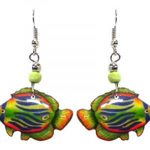 Tropical pattern fish acrylic dangle earrings with beaded metal hooks in lime green, orange, yellow, and blue color combination.