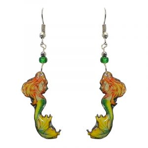 Blonde mermaid acrylic dangle earrings with beaded metal hooks in yellow, lime green, and peach color combination.