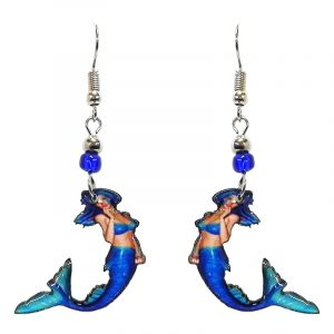 Mermaid acrylic dangle earrings with beaded metal hooks in turquoise, blue, and peach color combination.