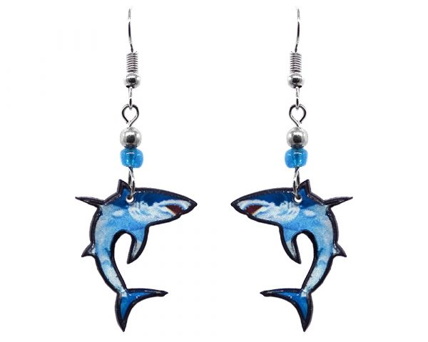 Great white shark acrylic dangle earrings with beaded metal hooks in turquoise and light blue color combination.