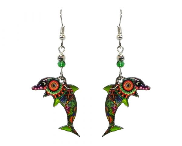 Psychedelic pattern dolphin acrylic dangle earrings with beaded metal hooks in lime green, orange, purple, and multicolored color combination.
