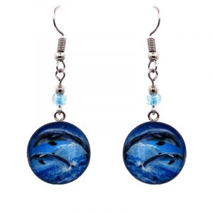 Round-shaped dolphin graphic acrylic dangle earrings with silver metal setting and beaded metal hooks in light blue, blue, gray, black, and white color combination.