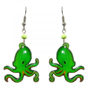 Octopus acrylic dangle earrings with beaded metal hooks in lime green, orange, black, and white color combination.