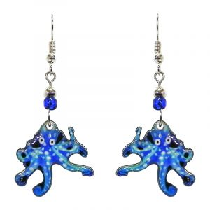 Spotted octopus acrylic dangle earrings with beaded metal hooks in light blue, turquoise, blue, and white color combination.