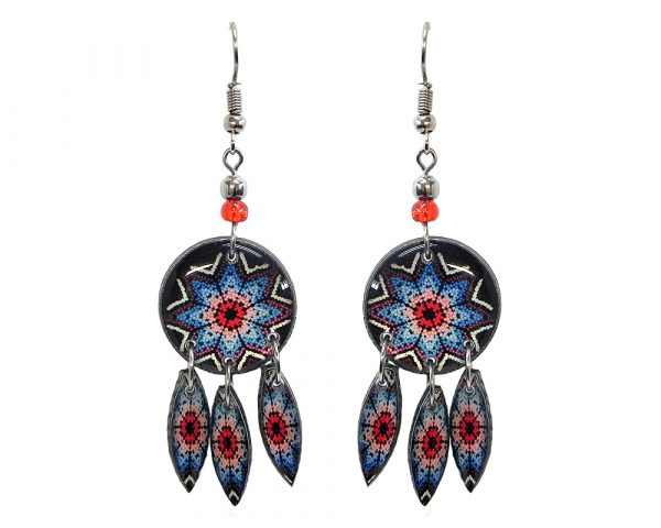Round-shaped Southwest flower graphic acrylic dangle earrings with long matching dangles and beaded metal hooks in black, white, red, and blue color combination.