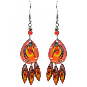Teardrop-shaped Kokopelli graphic acrylic earrings with long matching dangles and beaded metal hooks in orange, golden yellow, and rainbow color combination.