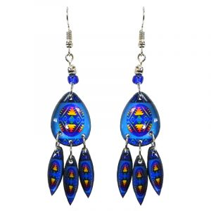 Teardrop-shaped Southwest pattern graphic acrylic dangle earrings with long matching dangles and beaded metal hooks in blue, turquoise, yellow, and orange color combination.