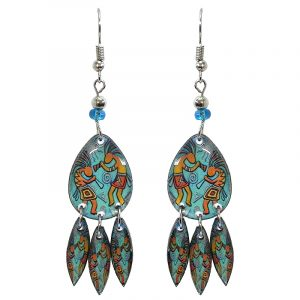 Teardrop-shaped Kokopelli graphic acrylic earrings with long matching dangles and beaded metal hooks in light blue turquoise and golden yellow color combination.