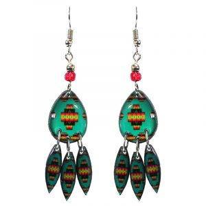 Teardrop-shaped Southwest pattern graphic acrylic dangle earrings with long matching dangles and beaded metal hooks in mint green, red, yellow, and black color combination.