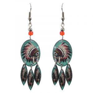 Oval-shaped Southwest graphic acrylic dangle earrings with long matching dangles and beaded metal hooks in turquoise mint, red, white, and black color combination.