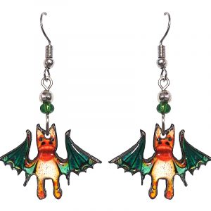 Halloween themed bat acrylic dangle earrings with beaded metal hooks in teal green and orange.