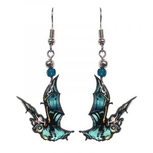 Halloween themed bat acrylic dangle earrings with beaded metal hooks in light blue.