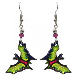 Halloween themed bat acrylic dangle earrings with beaded metal hooks in lime green.
