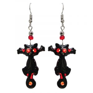 Halloween themed black cat acrylic dangle earrings with beaded metal hooks in black and red color combination.