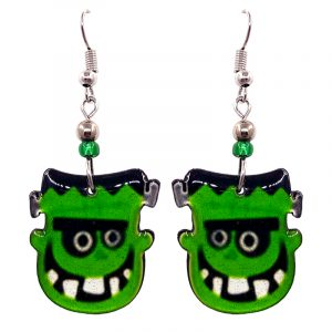 Halloween themed Frankenstein face acrylic dangle earrings with beaded metal hooks in green, black, and white.