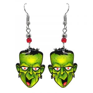 Halloween themed Frankenstein face acrylic dangle earrings with beaded metal hooks in lime green., black, white, and red.