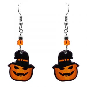 Halloween themed Jack O' Lantern pumpkin acrylic dangle earrings with beaded metal hooks in orange and black.