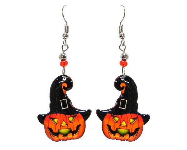 Halloween themed Jack O' Lantern pumpkin acrylic dangle earrings with beaded metal hooks in orange, black, and yellow.