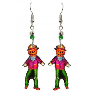 Halloween themed scarecrow acrylic dangle earrings with beaded metal hooks in orange, hot pink, and green.