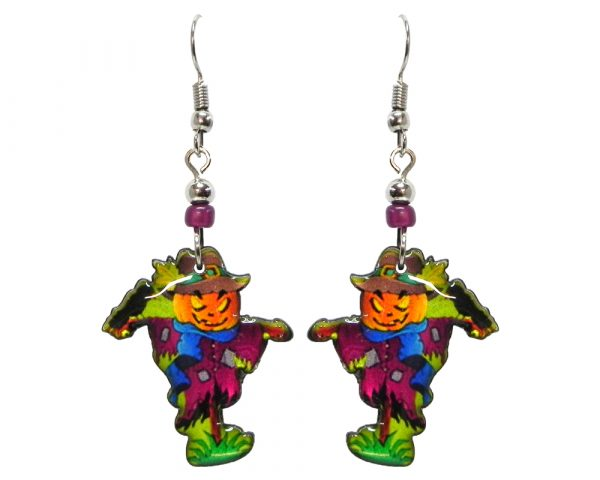 Halloween themed scarecrow acrylic dangle earrings with beaded metal hooks in orange, purple, blue, and green.