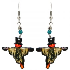 Halloween themed scarecrow acrylic dangle earrings with beaded metal hooks in orange, beige, and black.