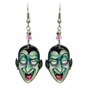 Halloween themed Dracula vampire face acrylic dangle earrings with beaded metal hooks in mint, purple, pink, and black.