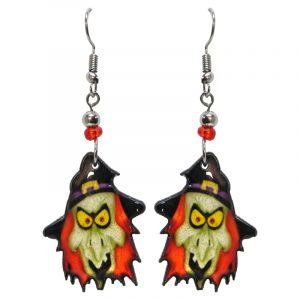 Halloween themed witch face acrylic dangle earrings with beaded metal hooks in beige, orange, yellow, and black.
