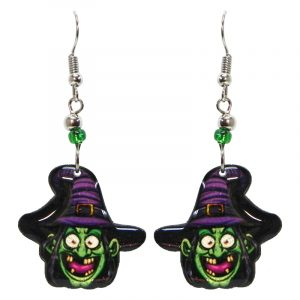 Halloween themed witch face acrylic dangle earrings with beaded metal hooks in green, purple, hot pink, and black.