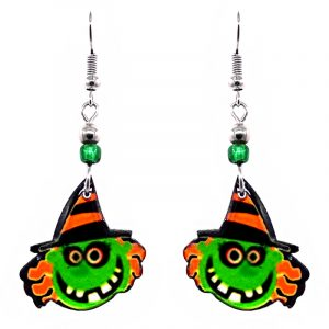 Halloween themed witch face acrylic dangle earrings with beaded metal hooks in lime green, orange, black, and white.