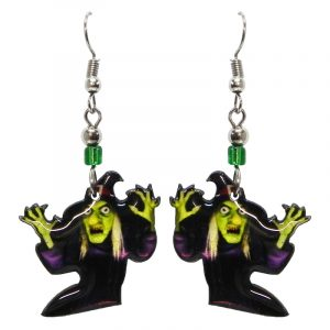 Halloween themed witch face acrylic dangle earrings with beaded metal hooks in lime green and black.