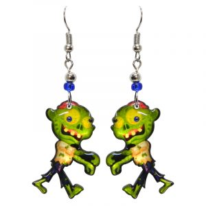 Halloween themed walking zombie acrylic dangle earrings with beaded metal hooks in lime green, yellow, and blue.