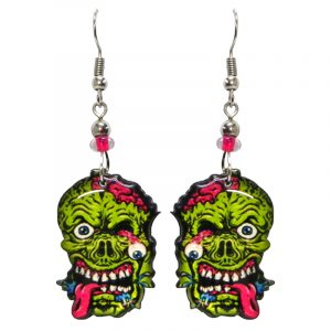 Halloween themed zombie face acrylic dangle earrings with beaded metal hooks in lime green, hot pink, black and white.