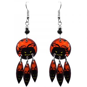 Round-shaped Halloween themed Jack O' Lantern graphic acrylic dangle earrings with long matching dangles and beaded metal hooks in orange and black.