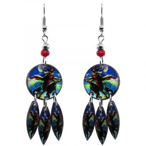 Round-shaped Halloween themed flying witch graphic acrylic dangle earrings with long matching dangles and beaded metal hooks in blue, green, and black.