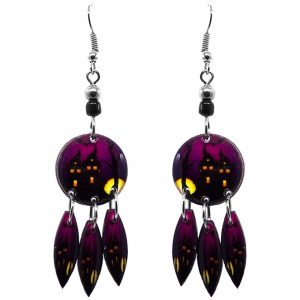 Round-shaped Halloween themed haunted house graphic acrylic dangle earrings with long matching dangles and beaded metal hooks in purple, black, and yellow.