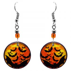 Round-shaped Halloween themed bat graphic acrylic dangle earrings with beaded metal hooks in orange and black.