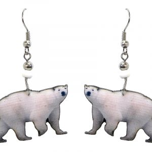 Polar bear acrylic dangle earrings with beaded metal hooks in white and black color combination.
