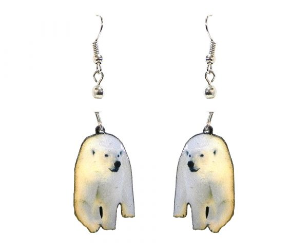 Polar bear acrylic dangle earrings with beaded metal hooks in white, beige, and black color combination.