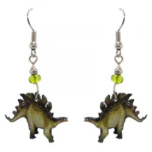 Stegosaurus dinosaur acrylic dangle earrings with beaded metal hooks in olive green, lime green, and brown color combination.