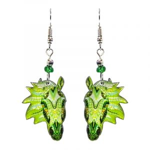 Tribal pattern horse face acrylic dangle earrings with beaded metal hooks in lime green, green, and white color combination.